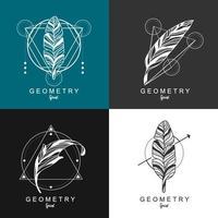 Feder-Logo-Design mit geometrischem Hintergrund. vektor