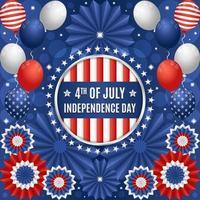 4 juli koncept för festlighet för självständighetsdagen med ballonger och pappersprydnadskomposition vektor