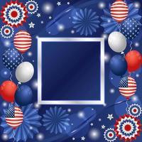 4 juli bakgrund för festlighet för självständighetsdag med ballonger och pappersprydnadskomposition vektor