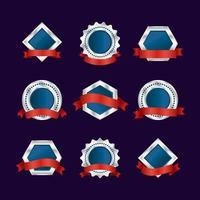 rotes Band mit blauer silberner Abzeichensammlung vektor