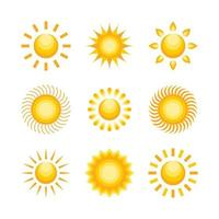 sol ikon samling vektor