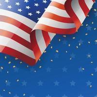 vierter Juli Hintergrund mit wehender amerikanischer Flagge vektor