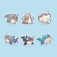 uppsättning söta tecknade havsdjur klistermärke vektor