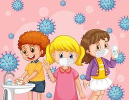 Kinder, die medizinische Maske mit Coronavirus-Symbolhintergrund tragen vektor