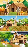 verschiedene Bauernhofszenen mit alter Bauern- und Tierzeichentrickfigur vektor