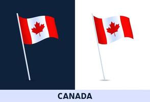 Kanada Vektor Flagge. winkende Nationalflagge von Italien lokalisiert auf weißem und dunklem Hintergrund. offizielle Farben und Anteil der Flagge. Vektorillustration.