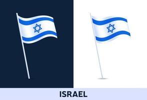Israel Vektor Flagge. winkende Nationalflagge von Italien lokalisiert auf weißem und dunklem Hintergrund. offizielle Farben und Anteil der Flagge. Vektorillustration.