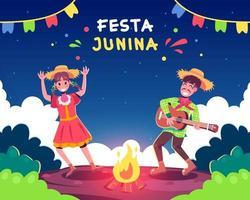 glückliche Menschen, die festa junina feiern vektor