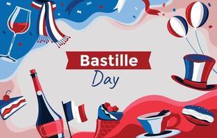 glücklicher Bastille-Tageselementhintergrund vektor