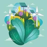 Ökologie Windkraftanlage und Sonnenkollektoren Energie Vorlage vektor
