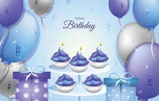 Grattis på födelsedagen blå och lila bakgrundsmall vektor
