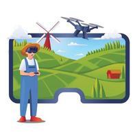 Gartenarbeit mit vr Technologiekonzept vektor
