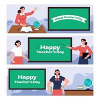 Bannersammlung zum Lehrertag vektor
