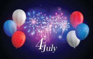 4 juli fyrverkeribakgrund vektor
