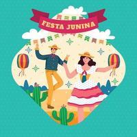 Mann und Frau tanzen im Festa Junina Festival Konzept vektor