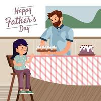 Vater geben Tochter Konzept Kuchen vektor