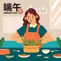 Frau kochen köstliche Zongzi auf Drachenbootfestival-Konzept vektor