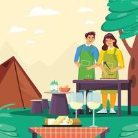 Mann und Frau grillen Fleisch zusammen während des Campingkonzepts vektor