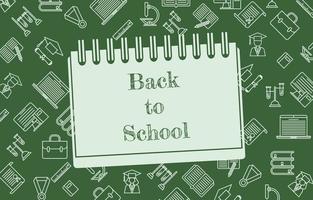 Back to School ikonische Bildung Briefpapier Hintergrund Design vektor