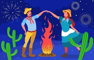 dansande par på en natt festa junina vektor