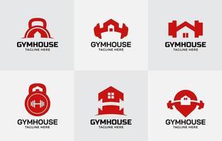 Fitnessstudio zu Hause Logo-Vorlage vektor