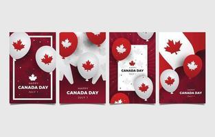 glücklicher kanadatag mit ballonelement grußkarte vektor