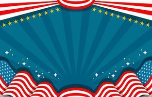 flaches Design mit amerikanischem Flaggenhintergrund vektor