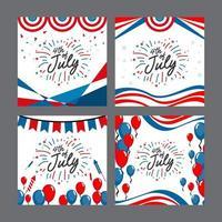 4. Juli Unabhängigkeitstag Kartensatz vektor