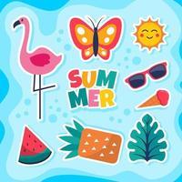sommar färgglada klistermärke designkollektion vektor