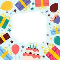 platt och färgglad födelsedagsfirande bakgrund vektor