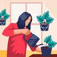 Frauen, die eine Bewässerungspflanzenillustration tun vektor