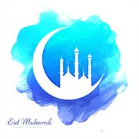 Vacker kort Eid Mubarak akvarell bakgrund