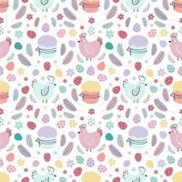 nahtloses Muster für Ostern. ein Muster mit Hühnern, die mit Eiern, Kuchen und Federn verziert sind. Design für Textilien, Verpackungen, Verpackungen, Web, Druck. flache Illustration des Vektors vektor