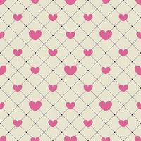 rosa Herzen auf einem gelben karierten Hintergrund. nahtloses Muster. Design für Valentinstag, Einladungskarten, Geschenkpapier, Textilien, Hochzeitsdekorationen. vektor