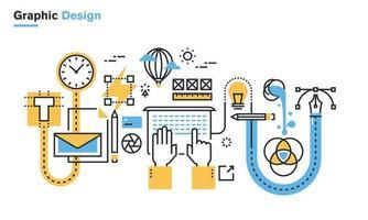 flache Linie Illustration des Grafikdesignprozesses, des kreativen Workflows, des stationären Designs, des Logo-Designs, des Brandings, des Verpackungsdesigns, der Corporate Identity. modernes Designvektorkonzept für Webbanner und gedruckte Materialien, lokalisiert auf weißem Hintergrund. vektor