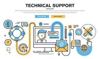 Modernes Vektorillustrationskonzept des flachen Linienentwurfsstils für technischen Support, Callcenter, Onlinedienst, Feedback, Kundenunterstützung, 24-Stunden-Hilfe, Kommunikation, für Website und mobile Website Banner und Landing Page. vektor