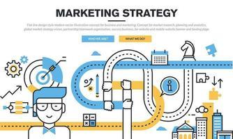 Modernes Vektorillustrationskonzept des flachen Linienentwurfsstils für Geschäft und Marketing. Konzept für Marktforschung, Planung und Analyse, globale Marktstrategievision, partnerschaftliche Teamwork-Organisation, Erfolgsgeschäft. vektor