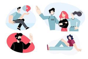 Satz von flachen Design-People-Konzepten für Business und Kommunikation. Vektorillustrationen für Grafik- und Webdesign, Geschäftspräsentation, Marketingmaterial. vektor