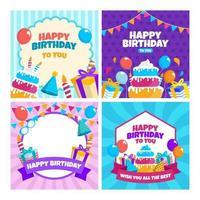 Sammlung von alles Gute zum Geburtstagskarten vektor
