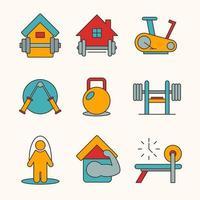 zu Hause Fitnessstudio Icon Sammlung vektor