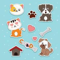 Hunde- und Katzenaufkleber vektor