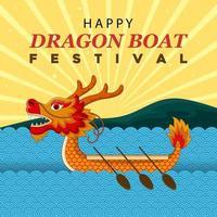 Drachenboot-Festivalillustration mit Gebirgshintergrund vektor