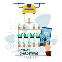 Drohnen-Gartentechnologie vektor