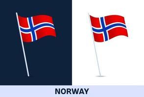 Norwegen Vektor Flagge. winkende Nationalflagge von Italien lokalisiert auf weißem und dunklem Hintergrund. offizielle Farben und Anteil der Flagge. Vektorillustration.
