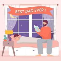 Glücklicher Vatertag, Vater liest Gutenachtgeschichte für seinen Sohn vektor