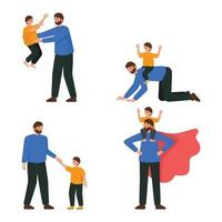 Satz von glücklichen Vater und Sohn Charakter vektor