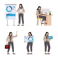 Geschäftsfrauen Charakter mit verschiedenen Posen vektor