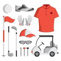 Golfausrüstung Icon Set vektor