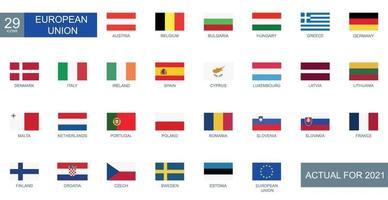 Satz aller Flaggen der europäischen Länder in rechteckiger Form mit Beschreibung - Vektor