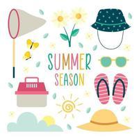 Sommer Outdoor-Aktivität Icon Set vektor